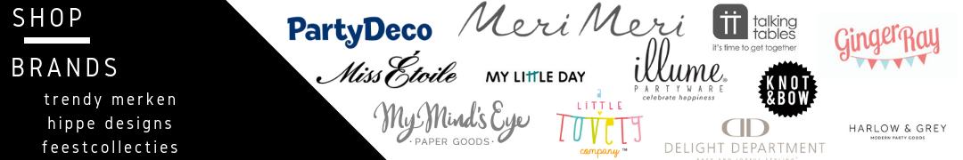 bekende merken brands feestartikelen, feestversiering en hippe feest decoratie collecties kopen bij PretaPret