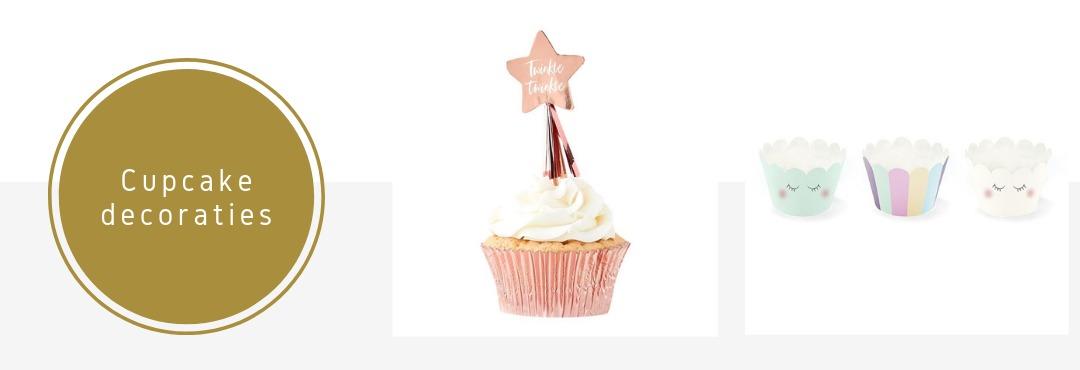 Cupcake decoraties wrappers en prikkers feestversieringen Verjaardag Babyshower Bruiloft kopen