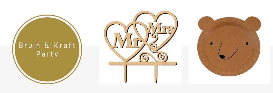 Bruin Kraft Hout Kleur Feestartikelen Versieringen online Kopen Verjaardag Bruiloft Babyshower
