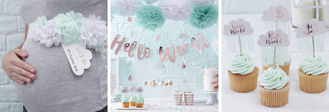 Hello World Ginger Ray Babyshower Decoraties feestartikelen kopen bij PretaPret altijd hip trendy