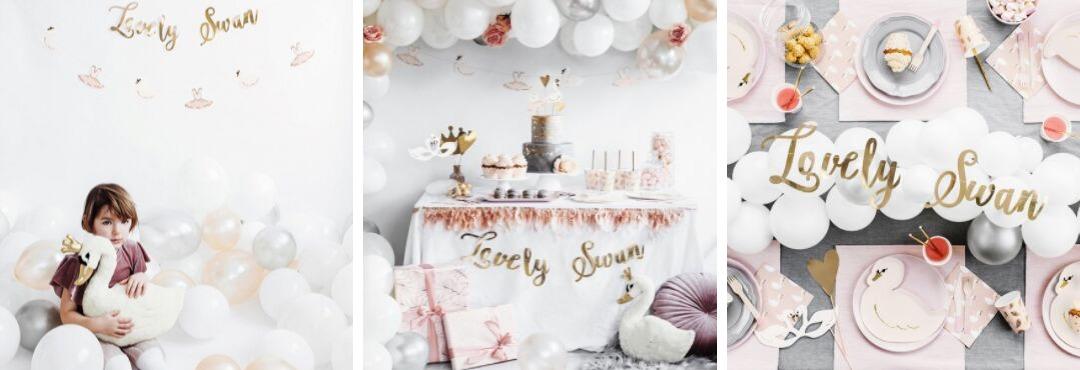 Lovely Swan Zwanenmeer collectie feestartikelen en feest decoratie voor een hip thema Kinderfeestje
