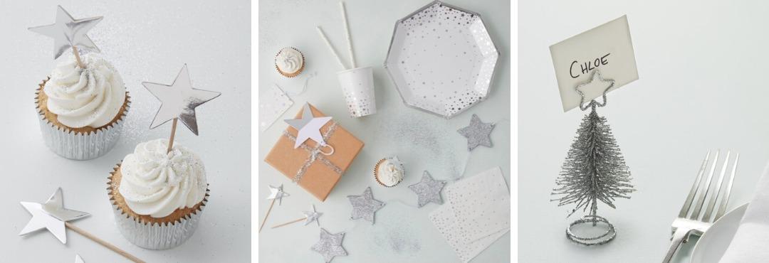 Silver Metallic Star Kerstversiering en Kerst decoratie van Ginger Ray je vindt het bij PretaPret