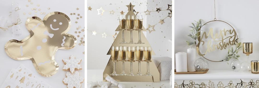 Gold Glitter Kerstversiering en Kerst decoratie van Ginger Ray je vindt het hier bij PretaPret