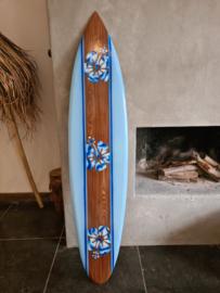 Surfboard blauw bloemen