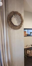 Raffiacirkel hanger met tijgerschelp dia60cm