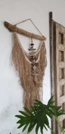 jute touw wandhanger met drijfhout