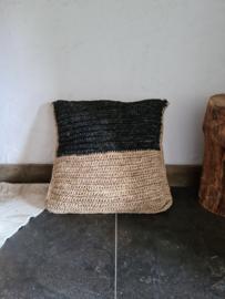 Raffia kussenhoes naturel/zwart