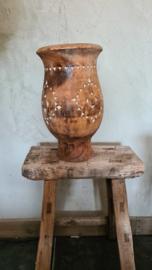 Bohemian houten bolvaas op voet naturel