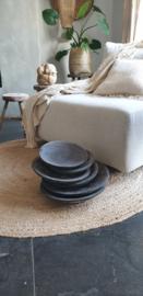 Houten bord / curving palmschaal zwart
