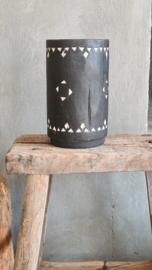 Bohemian vaas / vijzel zwart