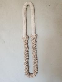 Schelpen/macramé ketting naturel 1-laag