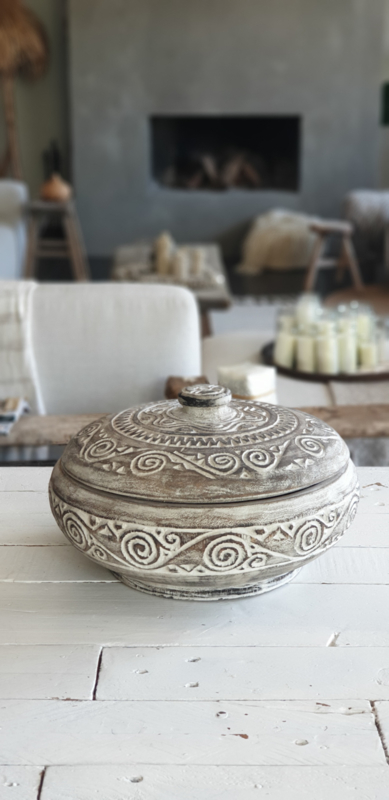 Bohemian pot met deksel, antique white