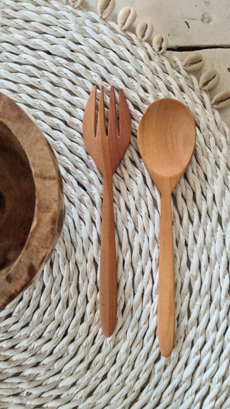Houten vork&lepel