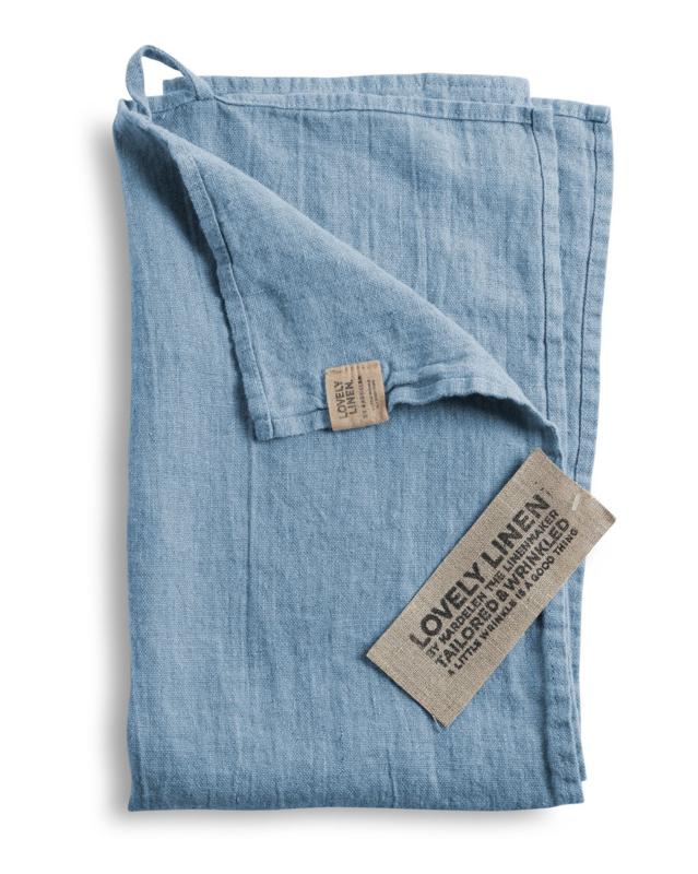 Linnen hand/theedoek 45x70cm dusty blue