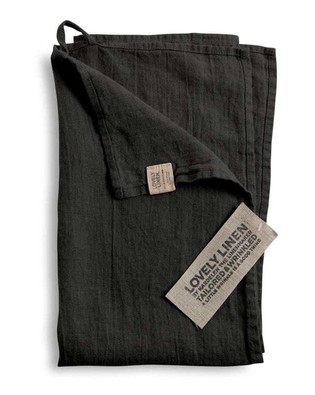 Linnen hand/theedoek 45x70cm dark grey