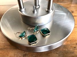 oorbellen lang goud emerald green glas facet
