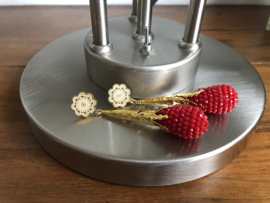 oorbellen XL goud met druppels rood kristal