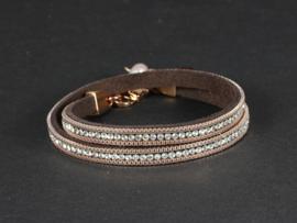 armband suède kristallen rosegoud