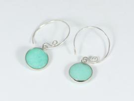 oorbellen zilver met lichtblauwe jade