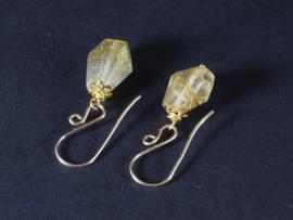 oorbellen goud met gouden rutielkwarts