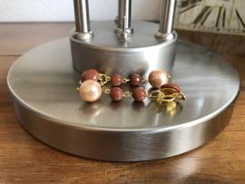 oorbellen XL met clips goudsteen en parel