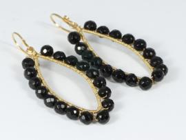 oorbellen goud met onyx facet