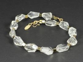 collier met bergkristal en hematiet goud
