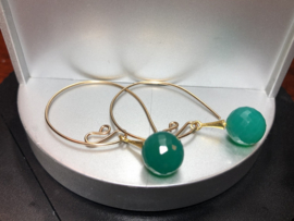 oorbellen goud goldfill groene onyx facet