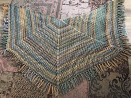 Omslagdoek in geel, turquoise, lila/donkerblauw