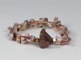 armband roze parelmoer en titanium kwarts
