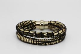 armband van dubbel zwart leer met goudopdruk