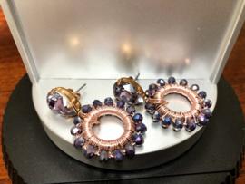 oorbellen rosegoud verguld swarovski en kristal paars