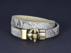 armband met DQ dubbel leer met slangenprint beige