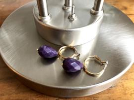 oorbellen creolen goud met jade druppel paars