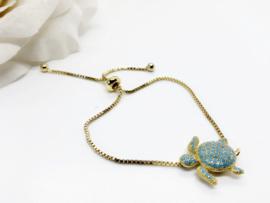 Armbandje verguld met schildpad met zirkonia's