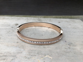 RVS armband bangle rosé goldplated met kristal