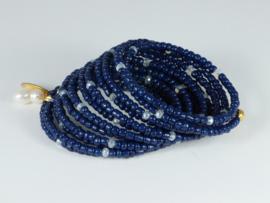 armband wikkel blauw met kristallen en een parel