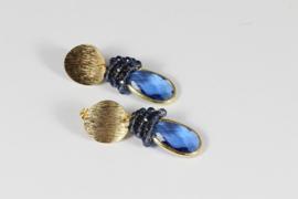 oorbellen goud met kristal blauw facet