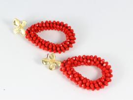 oorbellen XL goud met rood kristal