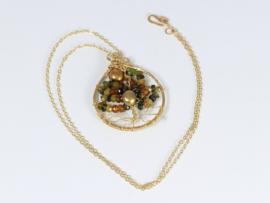 collier met tree of life hanger goud toermalijn