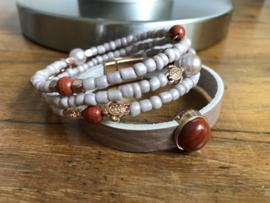 armbanden set met leer in oudroze en jaspis rood