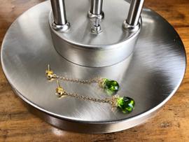 oorbellen goud met hydro quartz peridoot groen