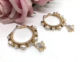 oorbellen creolen verguld met herkimer diamant en parels