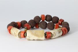 collier kort met lavasteen en natuurlijke koraal