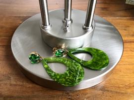 oorbellen XL goud groen met swarovski