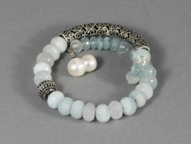 armband spang met aquamarijn en zilver