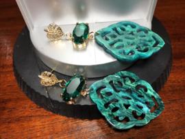 oorbellen lang emeraldgroen