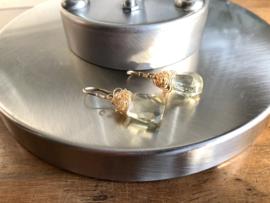 oorbellen goud met facet citrien