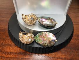 oorbellen lang goud met nautilus schelp oorstekers en abalone shell
