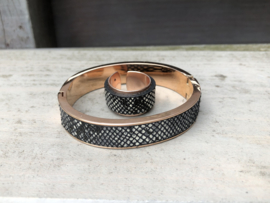 RVS armband  + ring rosé goldplated met leer